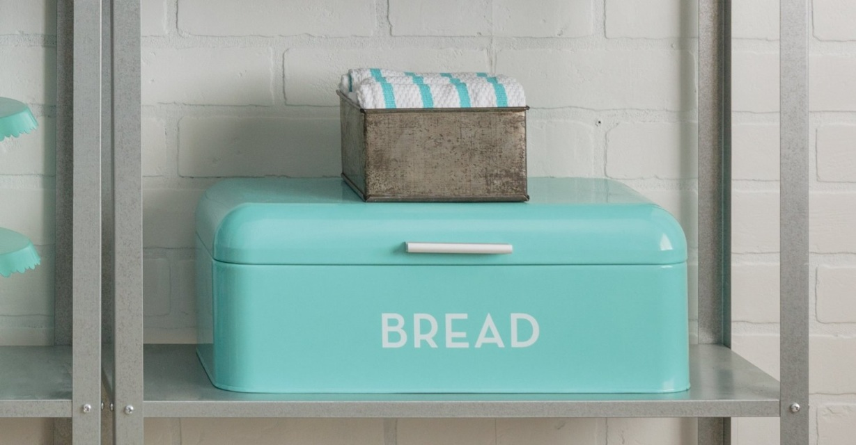 Turquoise blue bread bin rustic kitchen tin retro keep for Turquoise bathroom bin
