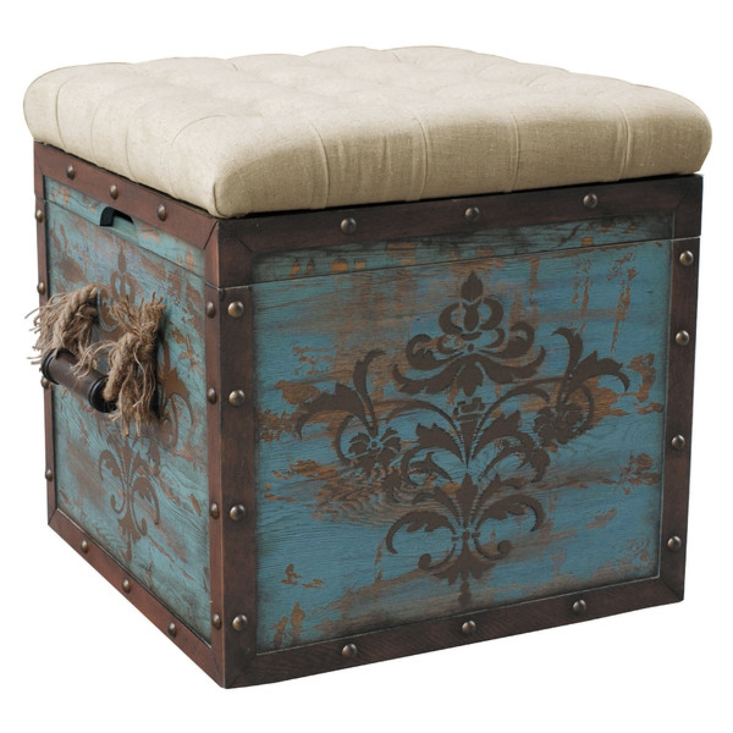 Distressed Wood Storage Ottoman ~ Storage cube ottoman square fabric top rustic distressed