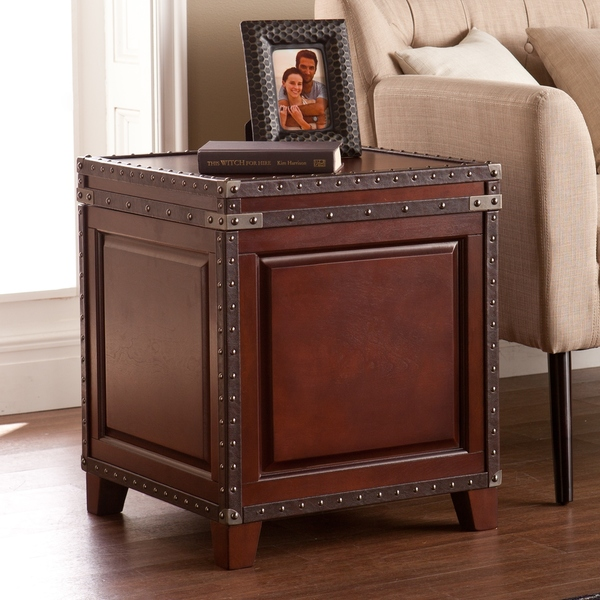Cherry Wood Trunk Coffee Table: Side Tables With Storage Trunk Chest Hidden Bin Small